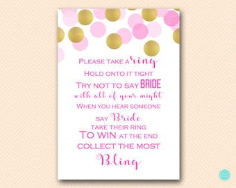 Hot Pink Bridal Shower Games, Dont Say Bride Game, Don't Say Game, Put a Ring on it Game, Bridal Shower Game, Shower Games Download BS509