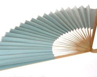 Vintage Bleu fan - Large Bamboo and Paper Fan - Vintage - Decoration - photo prop