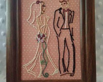 Bride & Groom Burgandy Lavender Peach 5x7 dark walnut finish framed hand embroidery art Wedding Anniversary Gift decoration centerpiece