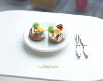 Miniature Fruit Deserts, Miniature Bakery, Miniature Sweet Treats, 1:12 Fruit, Dollhouse Kitchen - Miniature Dollhouse Food, 12th Scale Food