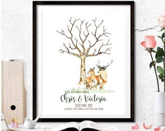 Wedding • Fingerprint Tree - Deer - Stag - Guestbook Alternative