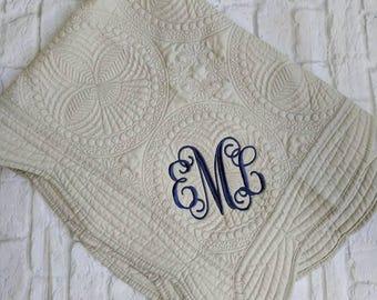 Monogrammed baby quilt, monogrammed baby blanket, baby shower, new baby, monogrammed baby shower gift, custom baby quilt, heirloom quilt
