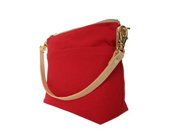 Convertible Pouch, Red Canvas Handbag, Detachable Leather Strap