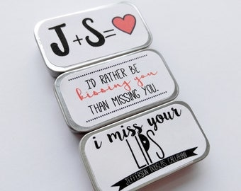 Long Distance Valentine Missing You Personalized Lip Balm Boyfriend Gift Girlfriend Gift LDR Card Long Distance Gift Lip Balm Tin Love Gift
