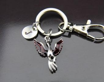 Silver Phoenix Charm Keychain Silver Phoenix Charm Personalized Keychain Initial Keychain Initial Charm Customized Monogram Jewelry