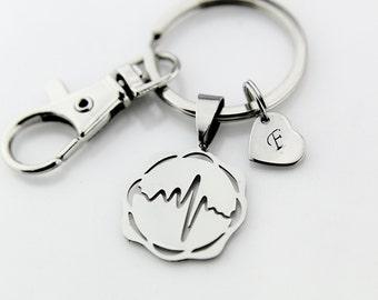 Silver Heartbeat Charm Keychain, Heartbeat Charm, Electrocardiogram charm Personalized Keychain, Initial Charm, Initial Keychain, Customized