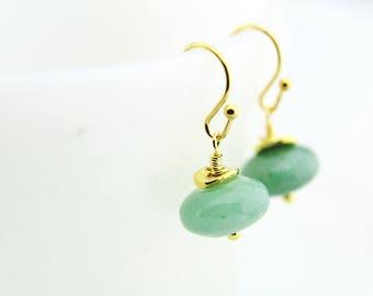 Green Aventurine Earrings, Aventurine Dangle Earrings, Natural Stone Earrings, Gemstone Earrings, Green Gold Earrings, Aventurine Jewelry