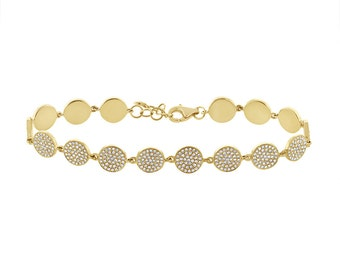 Womens 1.33CT 14K Yellow Gold Pave Diamond Circle Disc Like Cluster Bracelet