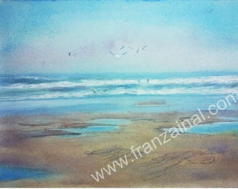 Painting, Original watercoloured drawing  ,  flight of gulls  on   the beach after the storm  ,   Marine  on aquarele paper