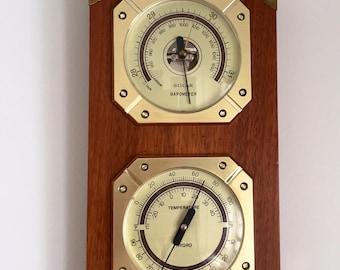 Vintage Mid Century Weather Station, Thermometer, Barometer, Hygrometer, Brass, Teak Wood Japan.