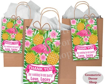 Flamingo Thank you cards Pineapple Favor tags pool party digital gift Decoration Pink birthday printable Thank you card tag swimming FTFL2