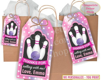 Thank you cards Bowling Favor tags digital gift Decoration birthday printable DIY Pink Purple Thank you card tag Girl Birthday Party  FTB2
