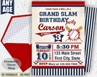 Vintage Baseball Birthday invitation / Sports Invite / All star invitations / First Ball red blue invites boy girl photo photograph BDSP7