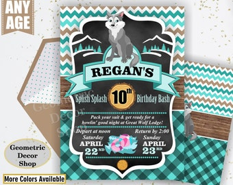 Lumberjack Birthday Party Invite First Birthday Aqua Plaid Lumber Jack Invitation Great Wolf Lodge turquoise Girl Photo Photograph BDLJ54