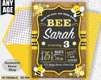 Bumble Bee Birthday Invitation Party Chalkboard Invite Burlap Rustic Digital Printable Black Yellow Boy Girl Flowers photo photograph BDBee2