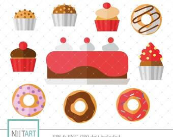 Cake clipart ,Doughnut clipart, Dessert clipart, vector graphics, Cream cake clipart, digital image