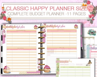 Happy Planner finance budget planner tracker Printable directs sales expenses inserts debt spending savings tracker pdf Instant download