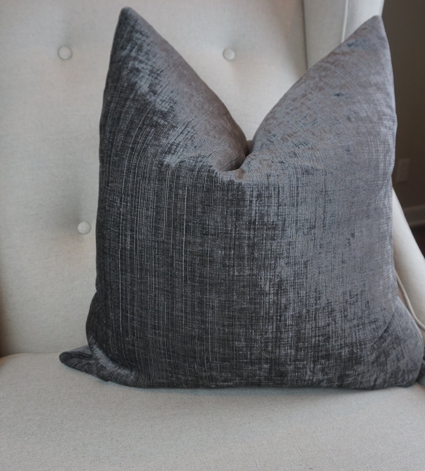 Small Gray Decorative Pillow : Gray Velvet Pillow Cover Decorative Pillow Cover 18x18