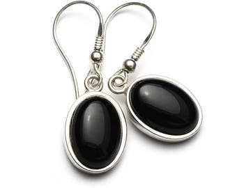 Black Onyx Earrings, 925 Sterling Silver, Unique only 1 piece available! color black, weight 6g, #45623