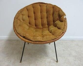 Vintage Mid Century Wicker X Hoop Lounge Egg Chair