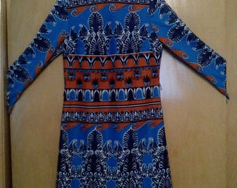 Clearance was 69 now 60. 60s/70s Egyptian Style Psychedelic/Psychadelic Geometric Mod Dress