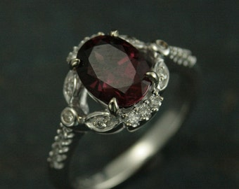 Fairy Floral Garnet Ring--14K White Gold Ring--Diamond Accented Ring--Gift for Her--Oval Garnet Ring--Birthstone Ring--Mother's Day Gift