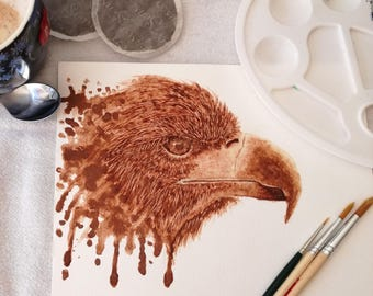 hand made eagle coffee painting made with coffee art