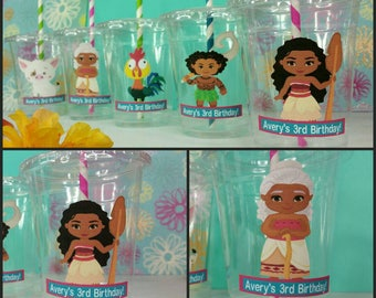 12 Personalized Moana Inspired Polynesian Princess Themed  Party Cups with Lids and Straws