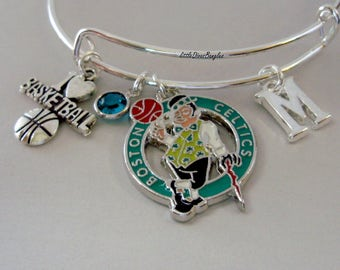 NBA Boston Celtics CHARM Bangle W/ Initial / Birthstone I love Basketball Charm - Celtics Charm Bracelet Gift  Sports Bangle - Usa  Sp1