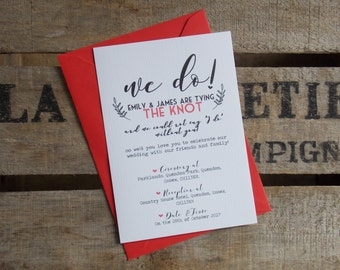 "Rustic Vintage Wedding Invitations ""We Do!"" Set"