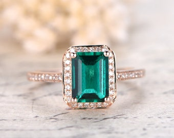 Emerald Engagement Ring Emerald Cut Ring 14K Rose Gold Emerald Ring May Birthstone Ring Emerald Cut Engagement Ring Diamond Halo Ring