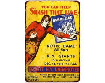 1930 Notre Dame Allstars vs NY Giants Vintage Reproduction 8x12 Sign 8120864
