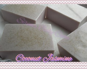 COCONUT JASMINE 4oz and 5oz. Oatmeal or Cocoa Butter Large Rectangle Facial Soap Bars with Goat Milk Powder