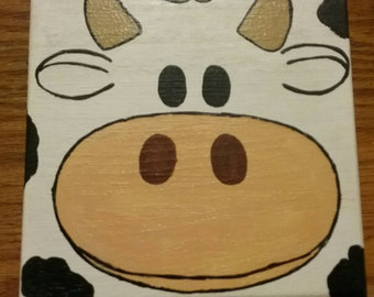 "Handpainted wooden cow box - approx. 5.5"" x 5.5"" x 3.5"""