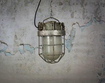 Vintage Russian Industrial Cage Light Vintage Industrial Pendant Light Cage Ceiling Light Factory Light Plant