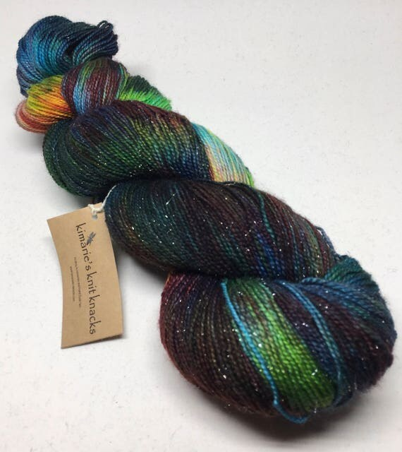 Hand Dyed Sparkle Sock Weight Yarn_It Was a Dark and Stormy Night_Frio Sparkle Base