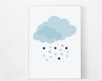 Cloud nursery, navy blue nursery, baby boy nursery, star nursery, nursery wall art, nursery art, navy nursery decor baby room decor wall art