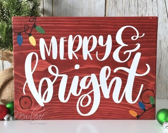 Merry And Bright Sign - Christmas Decoration - Merry Sign - Christmas Sign - Holiday Decor - Merry Christmas - Christmas Lights