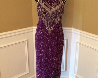 Prom dress / beaded formal dress/ purple/silver/ size 8  / beaded bodice/ beaded prom dress / evening gown / sassyweddingboutique