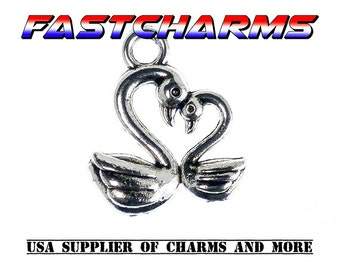 SWAN DUO HEART Charm, 13x15mm,5/20 pcs, Antique Silver, charms,bulk charms, charms bracelet, fastcharms,heart charms,swan,swan charms(YB37F)