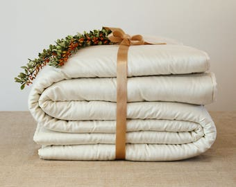 Duvet cover insert, twin size - extra warm twin size comforter, organic wool bedding. Other colors available.