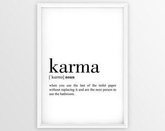 Karma Definition Print, Definition Printable, Karma Printable, Bathroom Wall Art, Bathroom Decor, Typography Bathroom Print   (W030)
