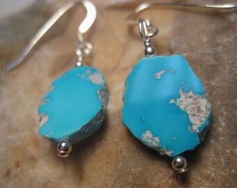 Sleeping Beauty Turquoise Earrings on Sterling Silver Hooks