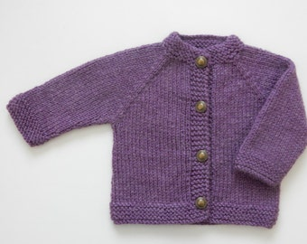 Hand Knit Baby Sweater / 0 - 3 months / Lilac Colour Baby Sweater / Hand Knit Cardigan / Baby Shower Gift / Baby Clothing