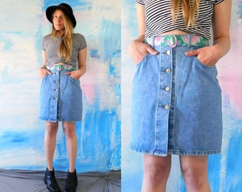 Fabulous High Waist Button Up Denim Skirt // 1990s // 90's // ENUF // Acid Wash // High Waisted // Jean Pencil Skirt //