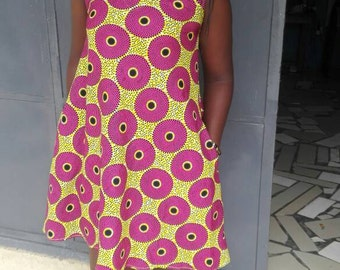 African dress for ladies pink and yellow