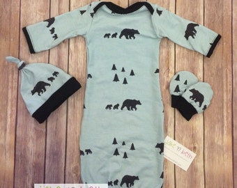 Bear baby gown, knot hat, and no scratch mittens, newborn set