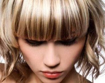 Clip on Fringe Bangs in THICK - 100% human hair free colour match service. Undetectable and real looking - face framing layers.