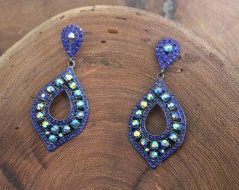 blue AB rhinestone earrings, green AB rhinestone earrings, prom/pageant earrings