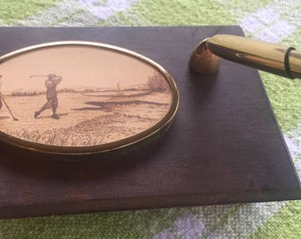 Vintage Golfers Pen Desk set